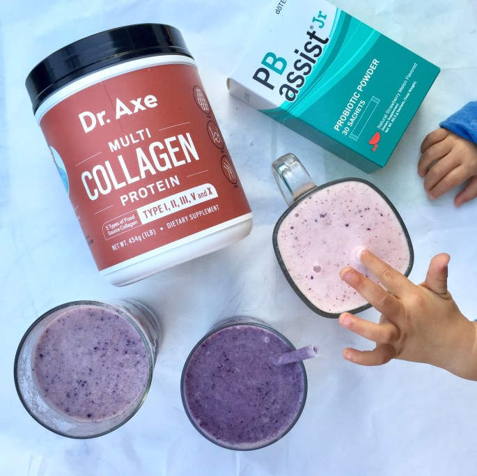 We use Dr. Axe's Multi-Collagen Protein and doTERRA's PB Assist Jr. in our smoothies to make sure our bodies stay healthy & well put together.