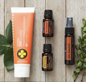 doTERRA's fluoride-free Natural Whitening Toothpaste combines the protective benefits of the proprietary doTERRA On Guard blend of CPTG Certified Pure Therapeutic Grade® essential oils with other natural ingredients that help clean teeth, reduce plaque, and whiten teeth with gentle polishing agents. The doTERRA On Guard blend of Wild Orange, Clove, Cinnamon, Eucalyptus, and Rosemary essential oils provides an extra cleaning boost. Additional essential oils of Peppermint and Wintergreen, and the natural sweetener xylitol, give doTERRA On Guard Natural Whitening Toothpaste a refreshingly unique cinnamon-mint flavor that leaves your breath—and toothbrush—fresh and clean throughout the day. doTERRA On Guard Sanitizing Mist purifies hands by eliminating bacteria and other germs on the skin. The moisturizing formula effectively cleanses hands without drying the skin, while the doTERRA On Guard blend of CPTG® of essential oils provides an uplifting citrus spice aroma.