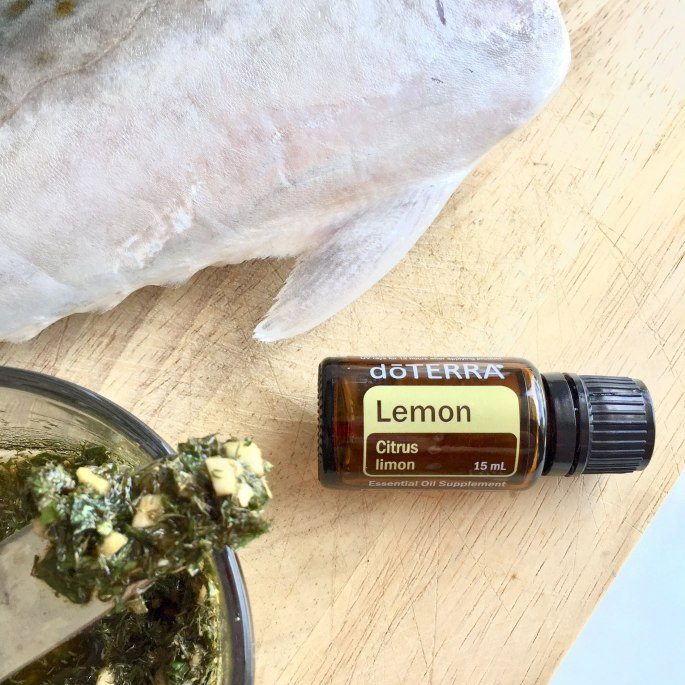 Simply add lemon essential oil to the other ingredients and slather inside the Spanish Mackerel.