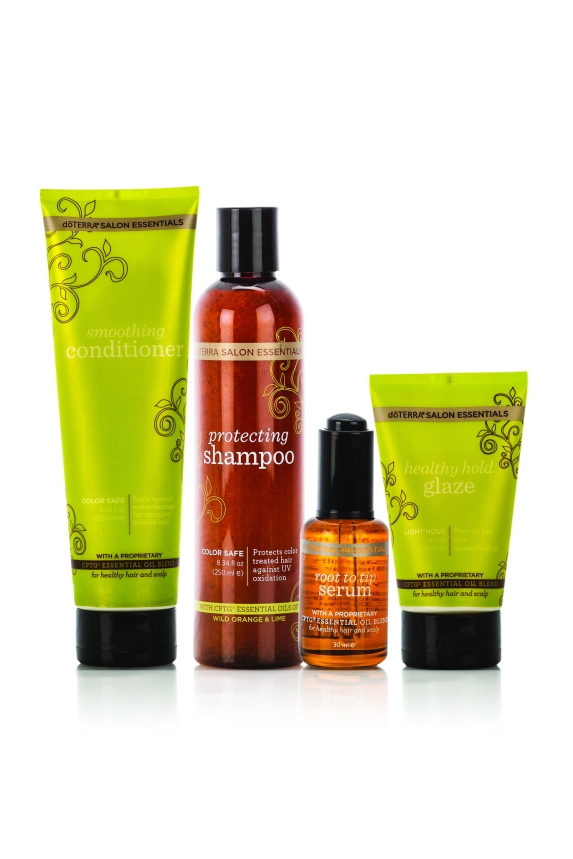 doTERRA Salon Essentials Hair Care System is the perfect way to experience the amazing benefits of all four doTERRA hair care products and provide a great savings. By purchasing the Protecting Shampoo, Smoothing Conditioner, and the Root to Tip Serum in the Salon Essentials Hair Care System, Healthy Hold Glaze comes FREE!