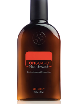 On Guard Mouthwash photo. In a world full of harsh chemicals and artificial flavors, we are often in search of safe products for ourselves and our family to use. doTERRA On Guard Mouthwash was created with this in mind. Only the best ingredients are used to provide a natural and effective mouthwash. We rely on and trust the protecting benefits of doTERRA On Guard essential oil blend in our daily routines. Now doTERRA On Guard Mouthwash can be added as an every day essential to support oral hygiene. doTERRA On Guard Mouthwash is alcohol free and formulated to clean teeth and gums, reduce plaque, and promote a healthy–looking mouth. The refreshing doTERRA On Guard essential oil blend leaves your breath fresh and your smile bright. The powerful benefits of the proprietary CPTG® essential oil blend of Wild Orange, Clove, Cinnamon, Eucalyptus, Rosemary, and Myrrh combined with other natural ingredients promote a healthy-looking mouth. Miswak extract helps freshen breath and maintain clean teeth by reducing excessive plaque buildup, while Xylitol helps maintain healthy and strong teeth. Add doTERRA On Guard Mouthwash to your oral hygiene routine, in addition to normal brushing and flossing, to support a healthy mouth and long-lasting fresh breath.